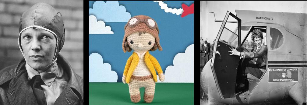 Amelia Earhart, aviator, crochet pattern
